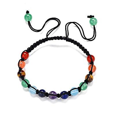 474cf820b51a Chakra Rainbow Cuentas de Piedra de Siete Colores Pulsera de Piedra de Aura  Pulseras de Equilibrio de Sanación Brazalete de Yoga de Estiramiento Tejido  13