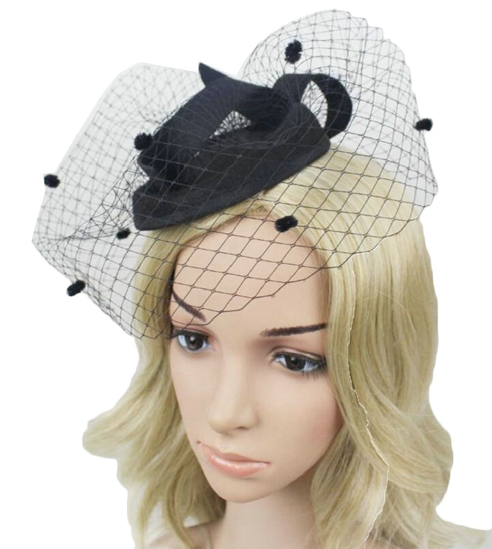 GAGA Women's Fascinators Pillbox Hat British Bowler Hat Flower Veil Wedding Hat Tea Party Hat Black OS