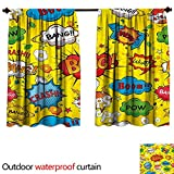 BlountDecor Superheroupf Outdoor Curtain W63 x L63(160cm x 160cm) Humor Speech Bubbles Funky Vivid Bang Boom Bam Pow Fiction Symbols Artful DesignAnti-waterMulticolor