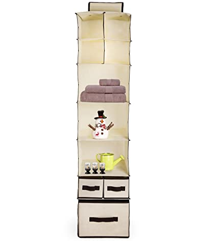 7 Shelf Hanging Closet Organizer   Clothes Storage With Pull Out Accessory  Drawers   Hanging Storage