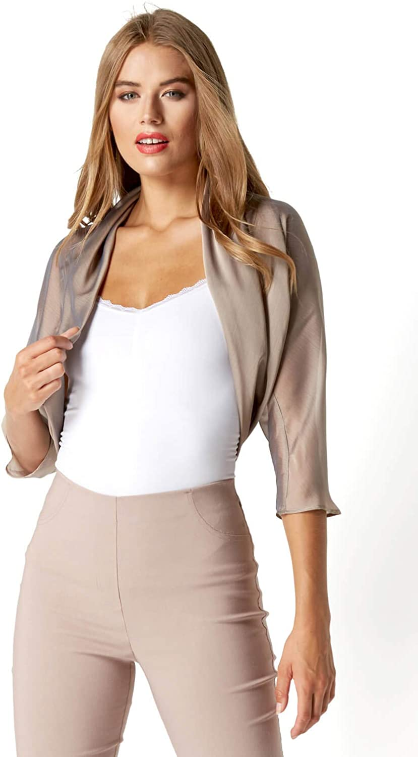 Roman Originals Women Chiffon Bolero Shrug Jacket with Ruched Hem Ladies Formal Smart Sheer Mesh Wrap Shimmer Crop Cardigan Wedding Guest Cover Up 1950s Blazer