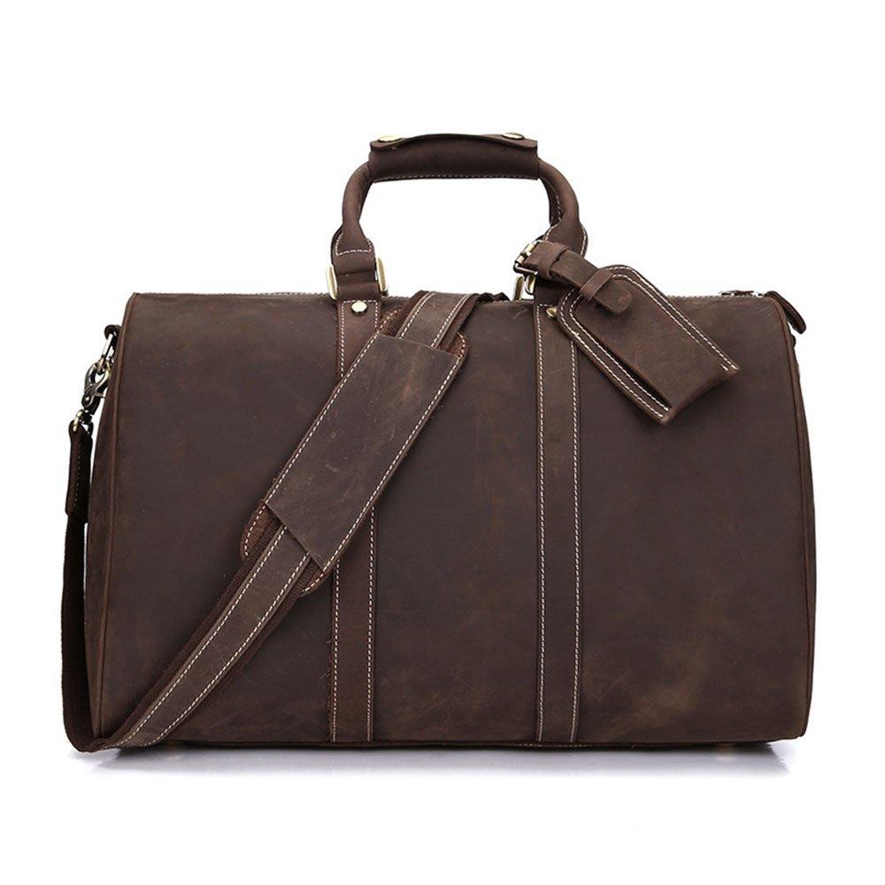 GLJJQMY Large-Capacity Leather Travel Bag Top Layer Leather Business Mens Bag Retro Shoulder Bag 44 X 24 X 29cm Travel Bag