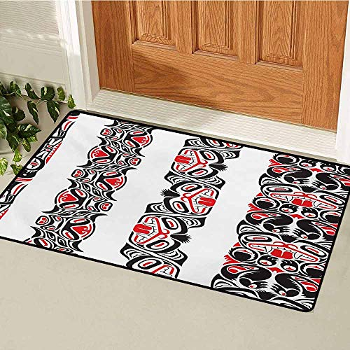 GUUVOR Primitive Front Door mat Carpet Haida Motifs in Vertical Borders with Abstract Tribal Animal Figures Machine Washable Door mat W15.7 x L23.6 Inch Black Vermilion White ()