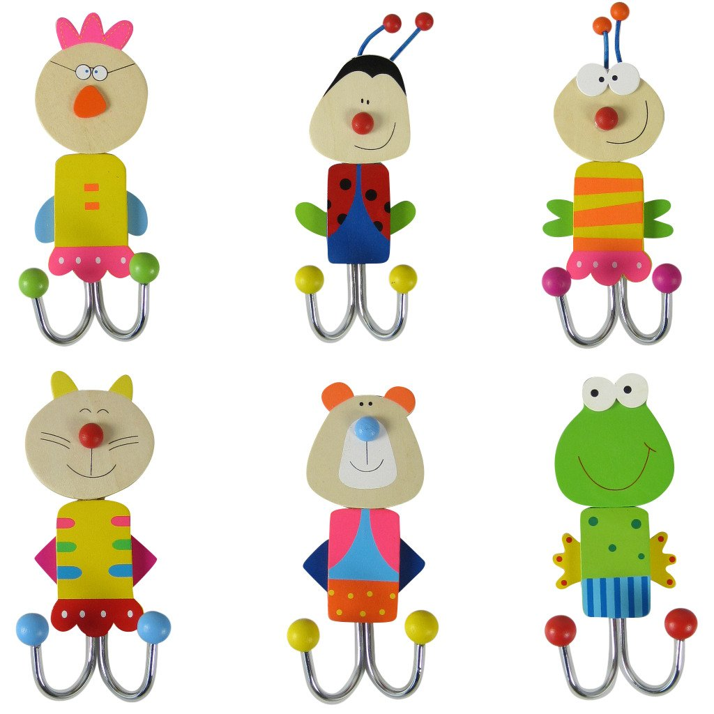 Wall Hook - Children's Set of 6 Clothes Hooks made of Wood - Multi-Coloured Unbekannt