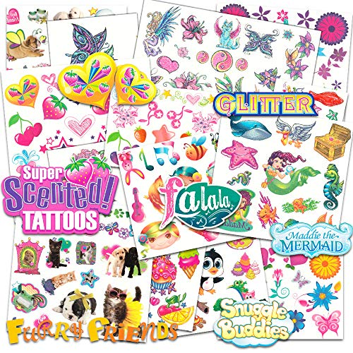Savvi Temporary Tattoos for Girls Mega Set Bundle with Over 360 Glitter Flash Scented Tattoos ~ Includes Butterflies, Flowers, Fairies, Mermaids, Food, Animals and More (Tattoo Party Favors for -
