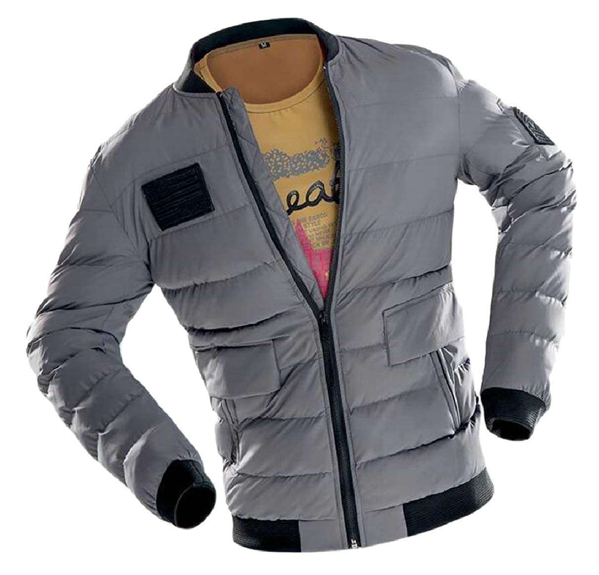 ZXFHZS Mens Classic Quilted Baseball Bomber Jacket Warm Puffer Coat