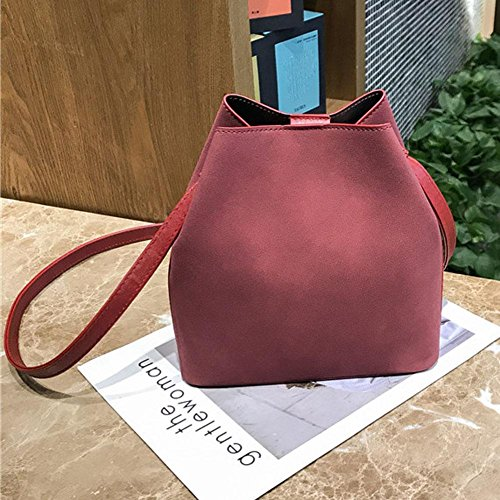 Composite Set 2pcs Crossbody Bags Bags Bucket Widewing Tote Red Women Shoulder Scrub PU vqOxOP46Tw
