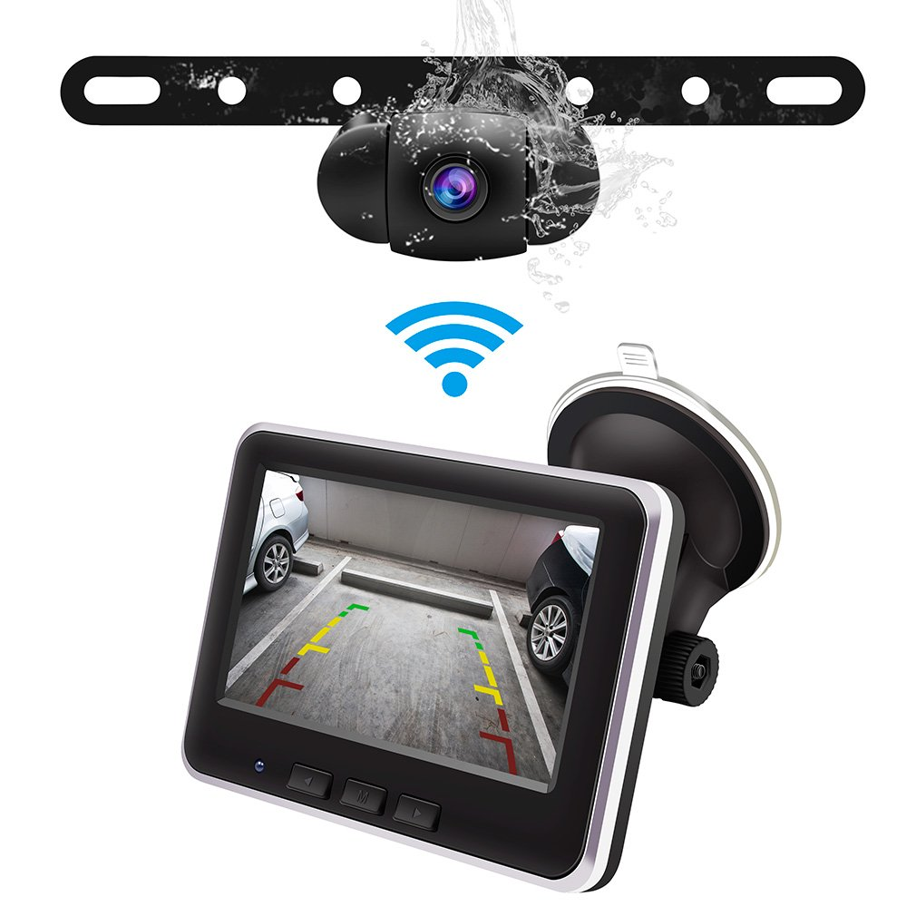 Accfly Wireless Backup Camera Kit,IP68 Waterproof License Plate ...