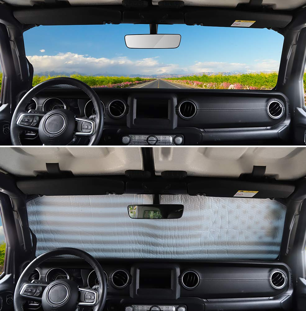 Windshield Sunshade for Jeep Wrangler JL JLU 2018 2019 Sun Shade Heat Shield Sun Visor Mat