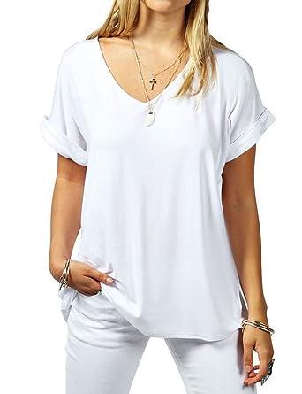Damen Blusen Sommer Party Oberteile Casual V-Ausschnitt Langarm Lose T-Shirt  Tops ( 4ba74d4301