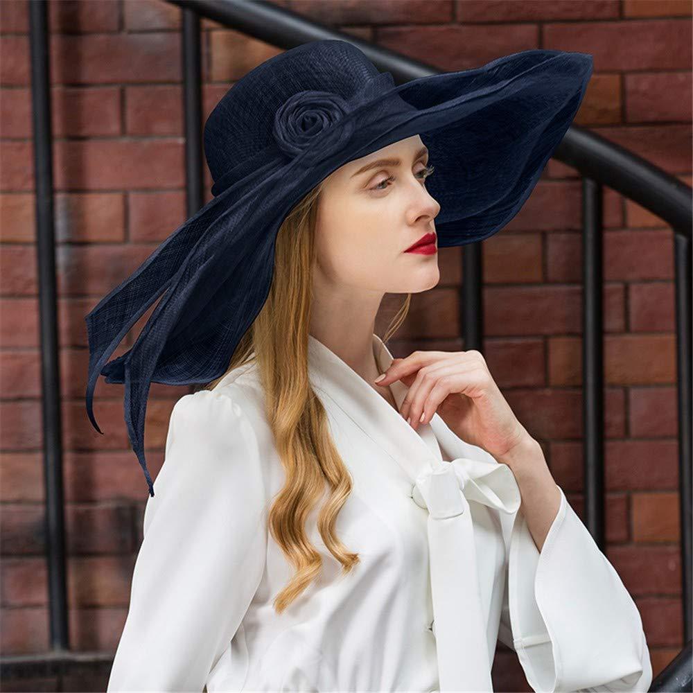 B Summer Sun Hat Beach Hat Wedding hat,Extended Eaves Linen hat Summer Excursion Seaside Shade Hat