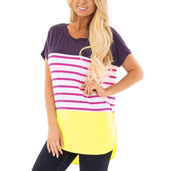 Nhiswsgt Las Mujeres Bloque de Color a Rayas Camisetas Bajas de Verano Las Blusas de Verano