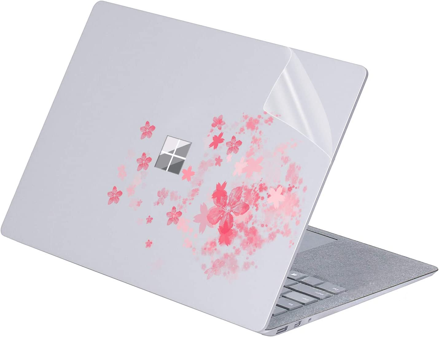 "MasiBloom Transparent Decal Sticker for 13 inch Microsoft Surface Laptop 3 & 2 & 1 (2019 18 17 Released) 13.5 inch Anti-Scratch Vinyl Protective Skin (for 13.5"" Surface Laptop 3/2/1, Cherry Blossom)"