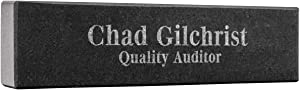 PlaqueMaker Personalized Engraved Black Granite Nameplate, Customized Office Accessory (8-Inch x 2-Inch)