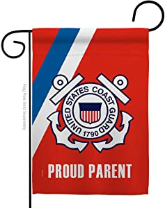 Proud Coast Guard Parent Garden Flag - Armed Forces USCG Semper Paratus United State American Military Veteran Retire Official - House Banner Small Yard Gift Double-Sided Made in USA 13 X 18.5