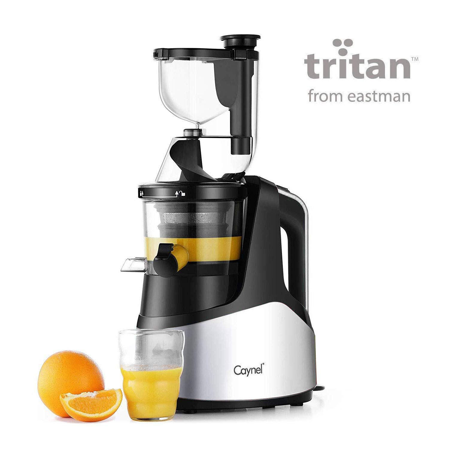 Slow Masticating Juicer Caynel Cold Press Extractor with 3'' Wide Chute for Fruits, Vegetables and Herbs, Quiet Durable Motor with Reverse Function, Smoothie Strainer Included, High Yield Vertical Juicer Easy Cleaning , BPA Free (Silver)