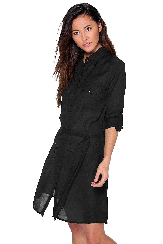 Black Womens Sasha Utility Shirt Dress
