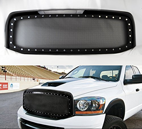 - Black Rivet Style SS Wire Mesh Grille+Shell For Dodge Ram 1500 2500 3500 06-08