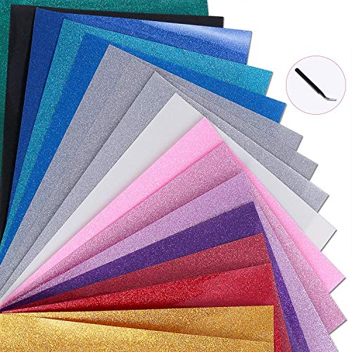 Magical 12x10 HTV Glitter Heat Transfer Vinyl, Sheets-18 Color Bundle Pack of Multicolour, Iron On T-Shirt Transfer Sheets - Best HTV for Silhouette Cameo,Cricut, Heat Press,Bonus 1 Weeding Tweezers