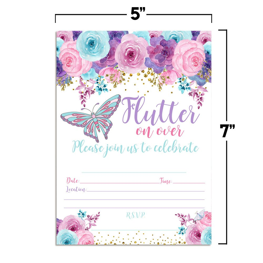 Amanda Creation Watercolor Floral Butterfly Birthday Party Fill in Style Invitations in Pink, Blue and Purple. Set of 20 Including envelopes by Amanda Creation (Image #4)