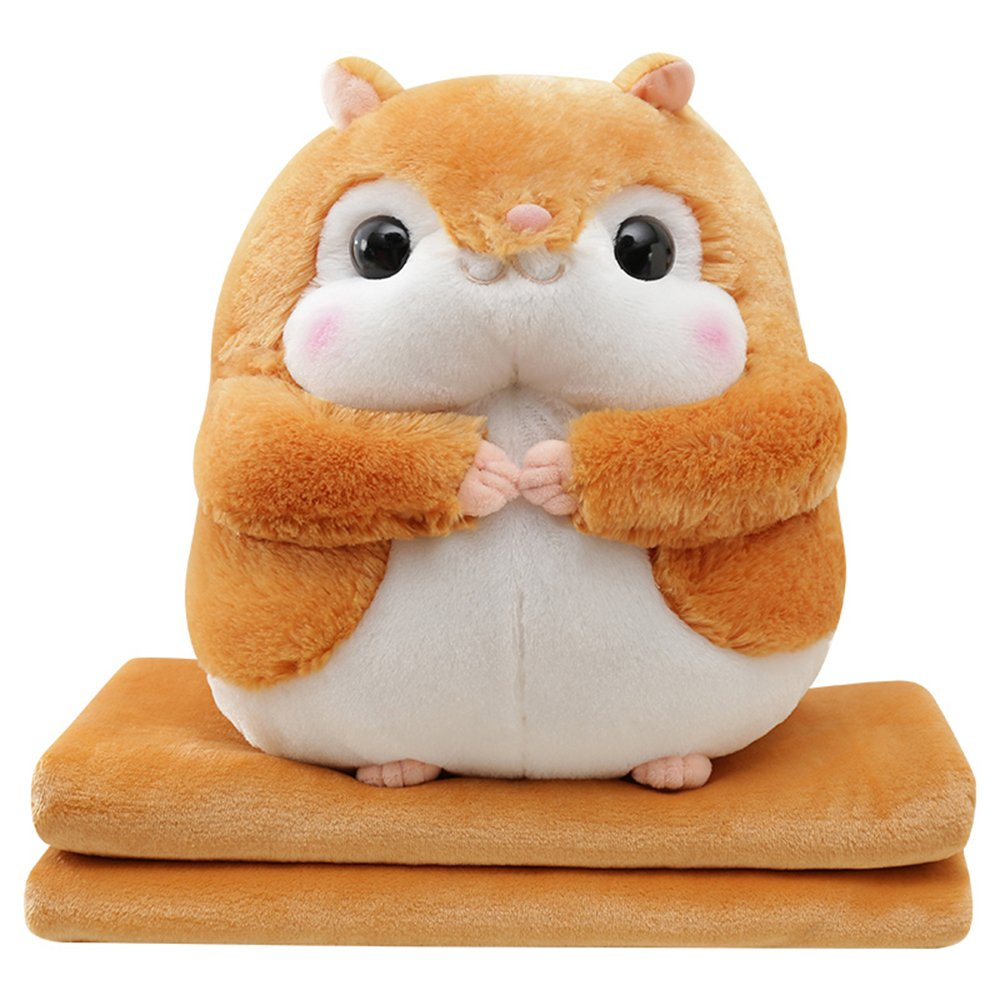SOCOMP Cute Smile Squirrel Plush Throw Pillow Blanket Cartoon Stuffed Animal Toys for Sofa Home Office Nap Birthday Gift