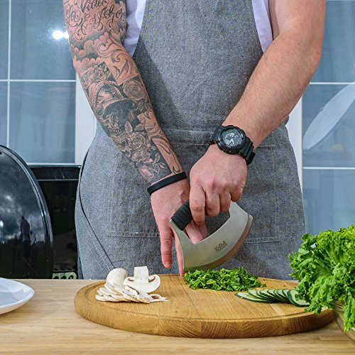 Pizza Cutter New Design by KoBzA - Sharp Rocker Slicer Top Quality Stainless Steel Blade as Mezzaluna Chef Knife Salad Vegetable Chopper with Protective Cover - Ergonomic Anti-Slip Handle