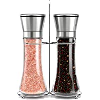 Roccar Stainless Steel Salt and Pepper Grinder Set -Tall Shaker, Adjustable Coarseness, Refillable -Sea Salt, Black…