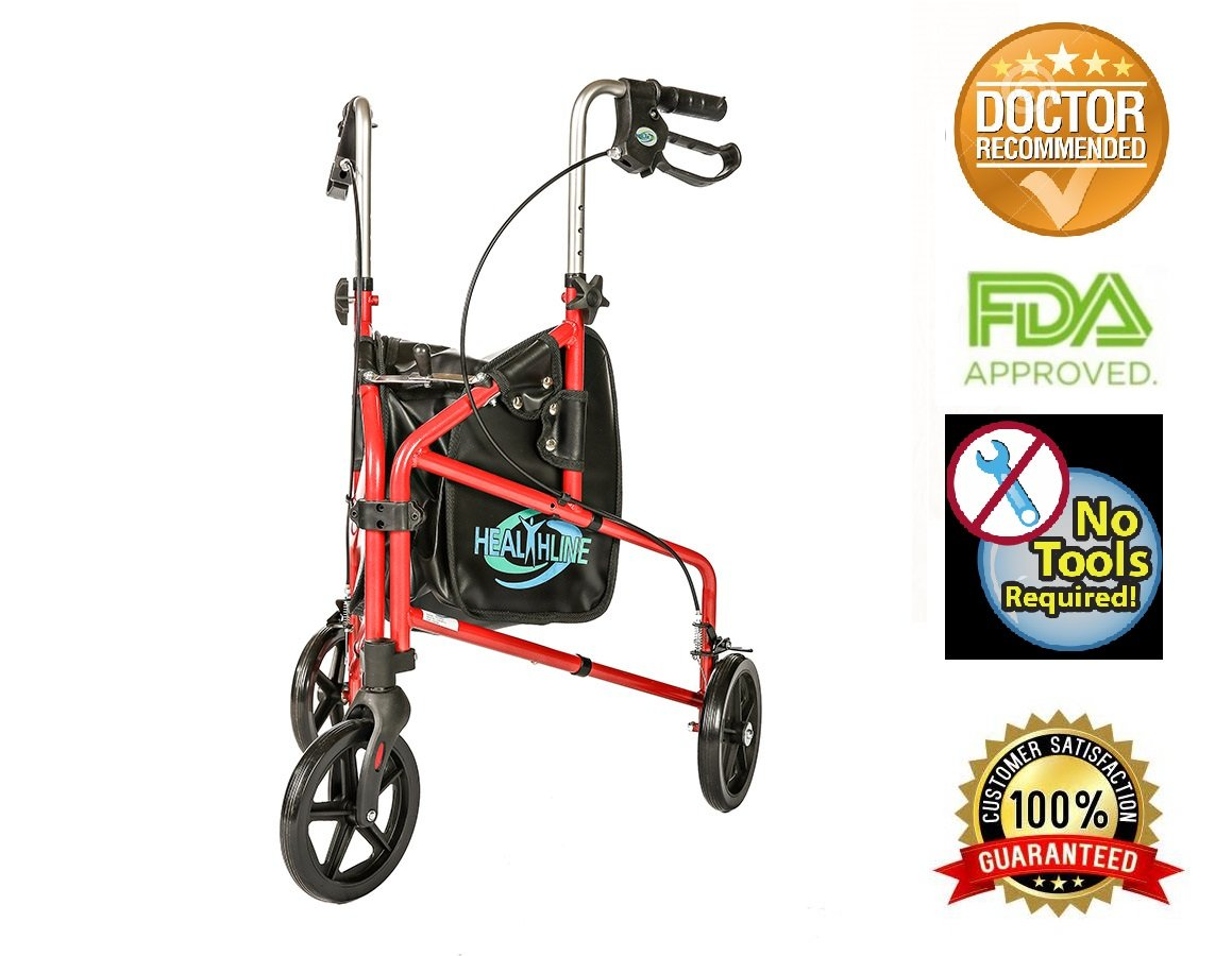 3 Wheel Rollator W/handle Brakes and Pouch Red By Healthline Trading