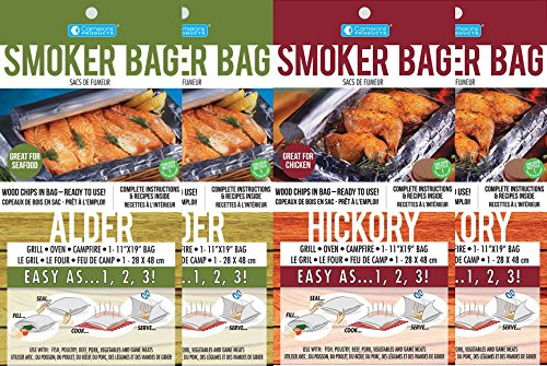 Smoker Bag for Oven/Grill, the Original, in Alder(2) and Hickory(2), 4 Pack by SAVU