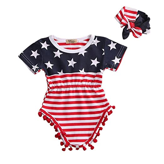 16c01336801e Amazon.com  Hatoys 2pc 4th of July Stars Jumpsuit