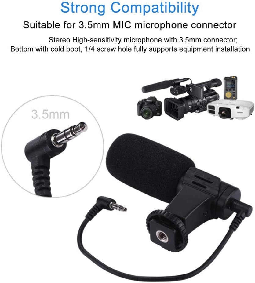 YTBLF Portable Mini Microphone 3.5Mm Capacitor SLR Digital SLR Smart Outdoor Camera Interview Microphone Cuff Cuff