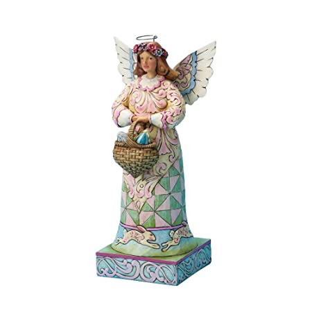 Jim Shore for Enesco Easter 10-Inch Angel Holding a Basket of Easter Eggs on Square Base Figurine