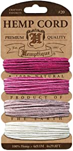 Hemptique Hemp Cord 4 Color Cards - Made with Love - Crafter's No. 1 Choice – Eco Friendly – Plant Hanger - Scrapbooking – Gardening – Macramé – Home Décor (Ruby Pack)