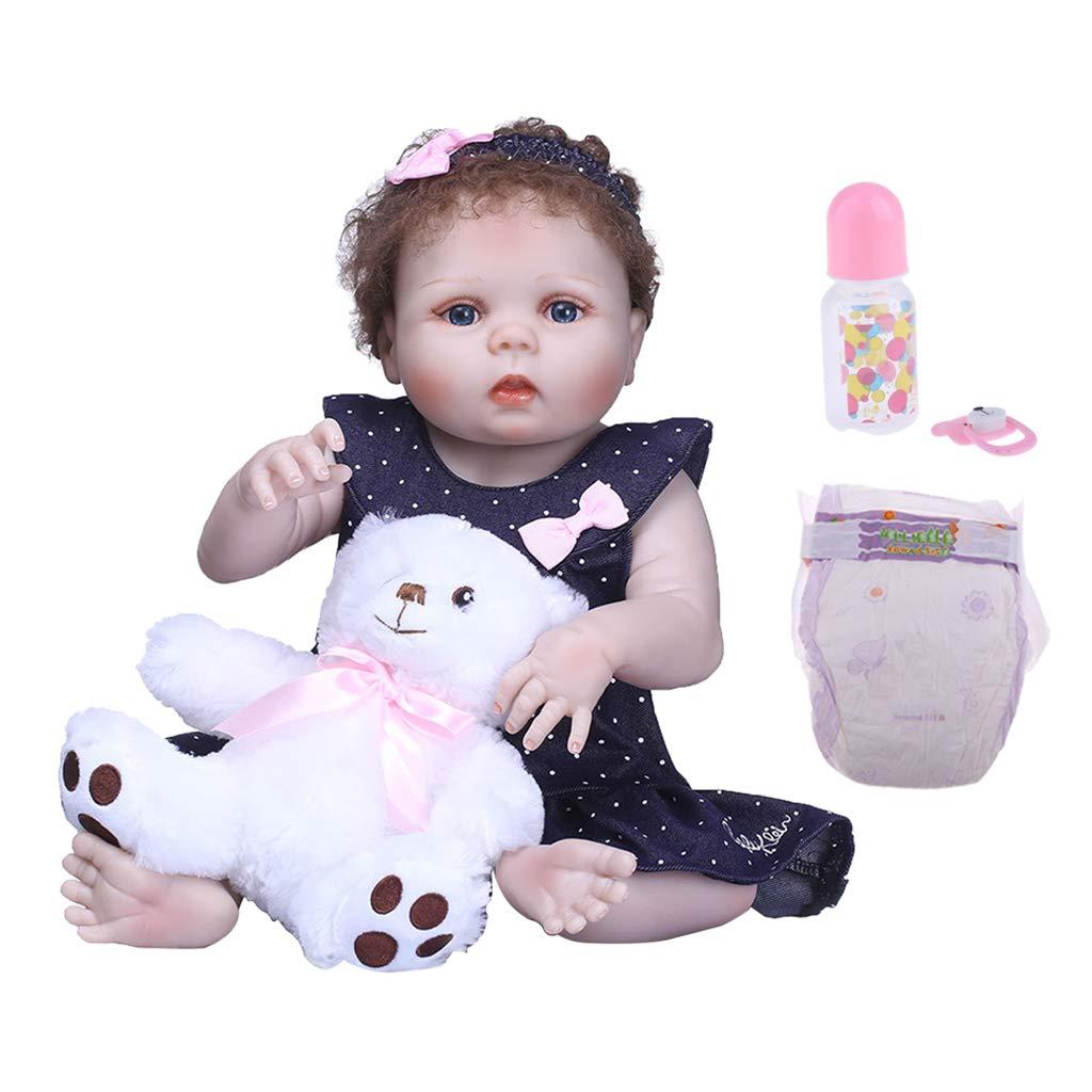 B Blesiya Realistic 22inch Full Silicone Reborn Infant Newborn Baby Doll Modello di Bambino Bella Simulazione Moda Bambola Regalo di Compleanno