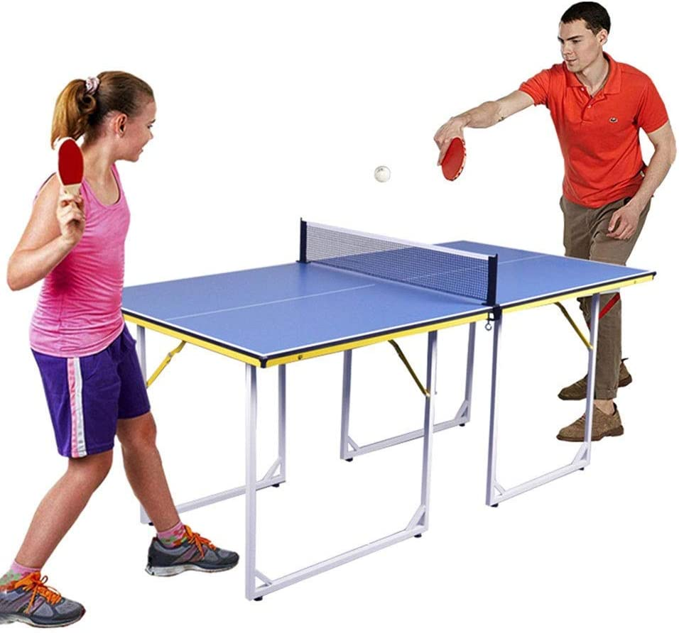 LiChenYao Mesa De Ping Pong Plegable con Paletas De Tenis De Mesa Y Juego De Pelotas, Mesa De Ping Pong De Tamaño Mediano para Diversión Familiar
