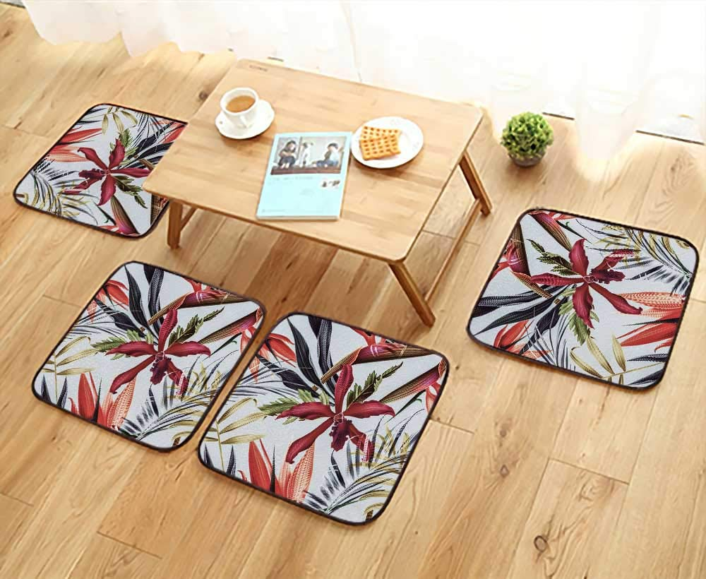 UHOO2018 Universal Chair Cushions Tropical Flower Plant and leafbackground Personalized Durable W15.5 x L15.5/4PCS Set