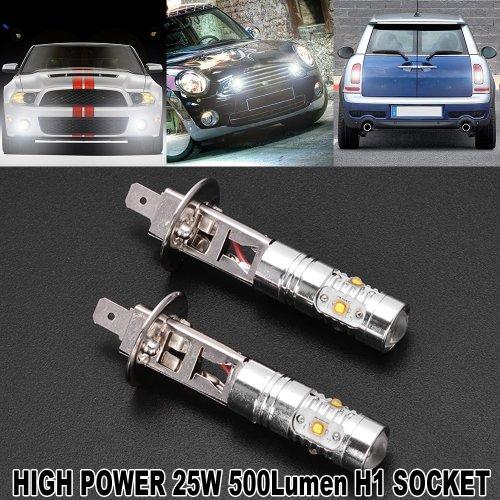 2x H1 High Power 25W 6000K 5 CREE SMD LED Projector PMMA DRL Fog Daytime Light Bulb for Toyota Honda Nissan Mazda Acura