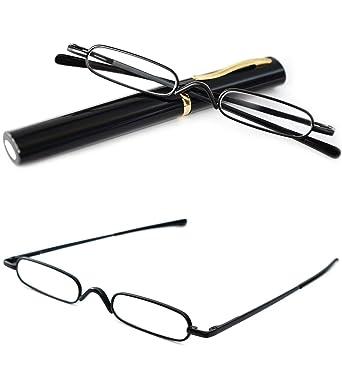 ecd58a83e9b VEVESMUNDO Reading Glasses Men Women Compact Metal Eyeglasses Eyewear With  Case (Black