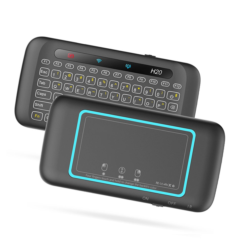 Colorful Backlit Mini Wireless Keyboard, Tripsky H20 IR Learning one Key Power on/Off, Handheld Remote with Touchpad Mouse for Android TV Box, HTPC, IPTV, Android OS(4 in 1, 7 Colors) …