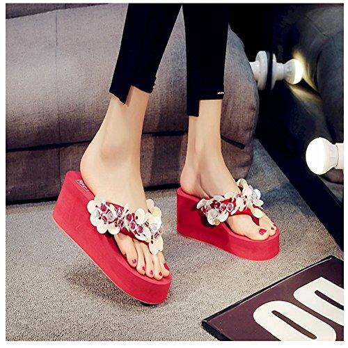 Toe Flops Sparkle Ladies Glitter Skid Platforms Flip Clip JULY T Red Sequins Wedges Womens Non Slides Beach Dressy Sandals qwZH8