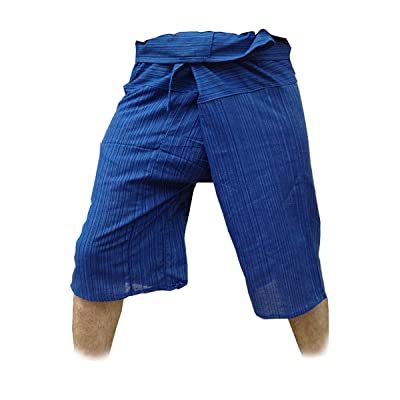 Thai Fisherman Pants Yoga Trousers Free Size 3/4 Cotton Stripe-Deep Blue