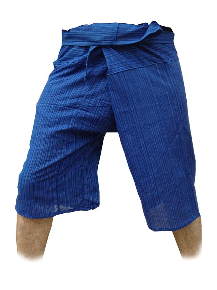 Thai Fisherman Pants Yoga Trousers Free Size 3/4 Cotton Stripe-Deep blue Thailand