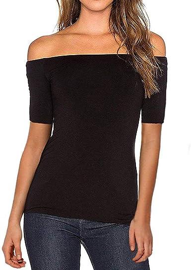 Qingsiy Camisetas Mujer Manga Corta Camisetas Mujer Verano Blusa Mujer Sport Tops Mujer Verano Camisetas Sin Hombros Mujer Camisetas Mujer Manga Corta Algodón Camiseta: Amazon.es: Ropa y accesorios