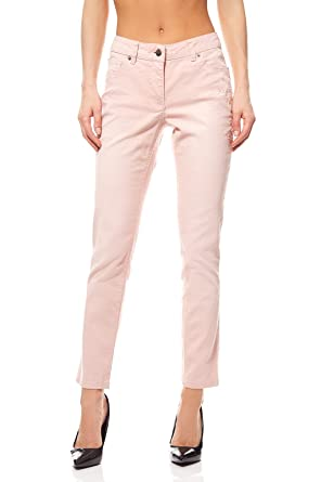 Aniston romantische Jeans-Hose mit Blumen Stickerei Sommerhose Hose  Kurzgröße Rosa  Amazon.de  Bekleidung 4e9c83196f
