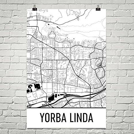 Carte De Linde A Imprimer.Amazon Com Modern Map Art Impression D Yorba Linda Art