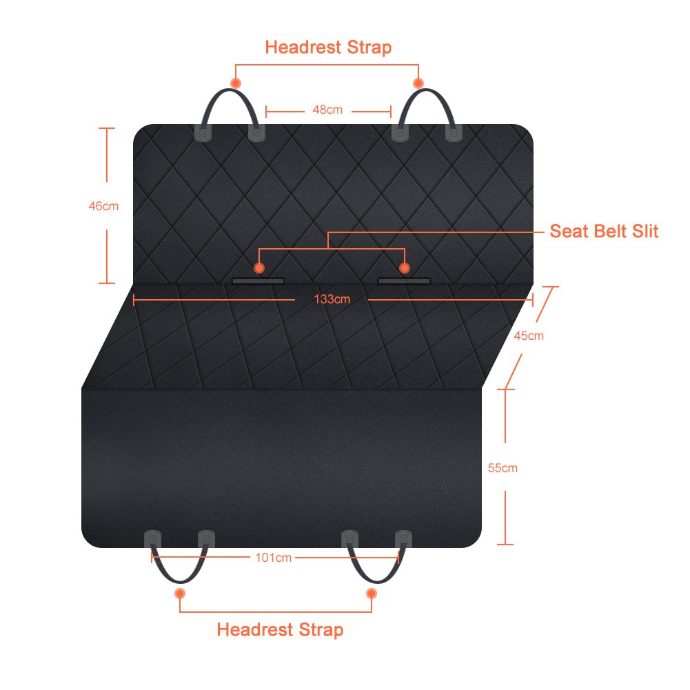 GHB Dog Car Seat Cover Back Rear Car Seat Covers for Dogs with Seat Belt Waterproof Scratch Proof Nonslip Universal