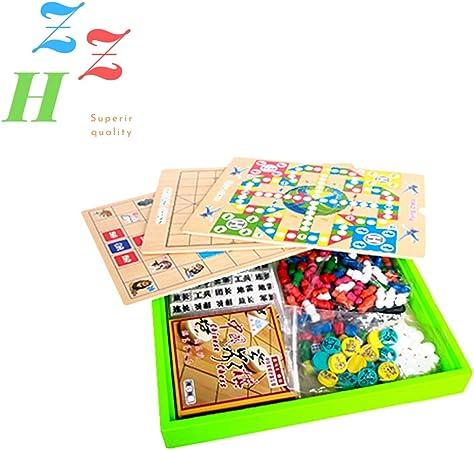 ZZH Deluxe Grande 7 En 1 Juegos De Madera Compendio Juego De Dados Juegos De Mesa Más,Onecolor: Amazon.es: Hogar