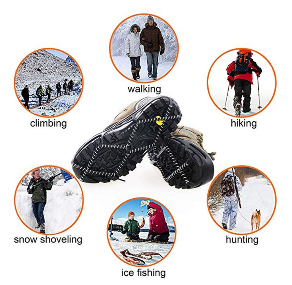 Jogging,Climbing or Hiking on Snow,Ice,Mud,Sand and Wet Grass LOVEIU Traction Cleats Ice Snow Grips Non-Slip Shoes Cover for Walking
