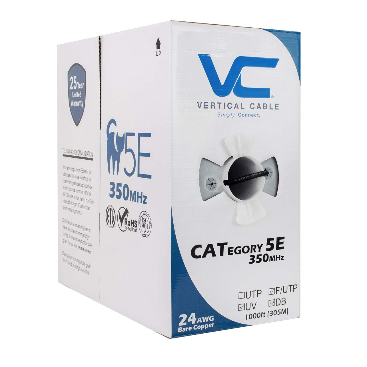 Vertical Cable CAT5E, Shielded Dual Jacket, Direct Burial, 1000ft, Black, Bulk Ethernet Cable by VC VERTICAL CABLE