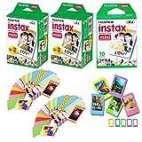 Fuji Instax Mini Instant Film 50 Shots with Bonus 40 Decorative Skin Stick-on Stickers for Fuji Instax Mini 8 and SP-1